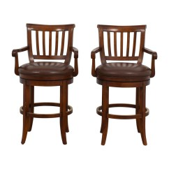Ethan Allen Leather Chair Wicker Barrel 79 Off Brown Stools