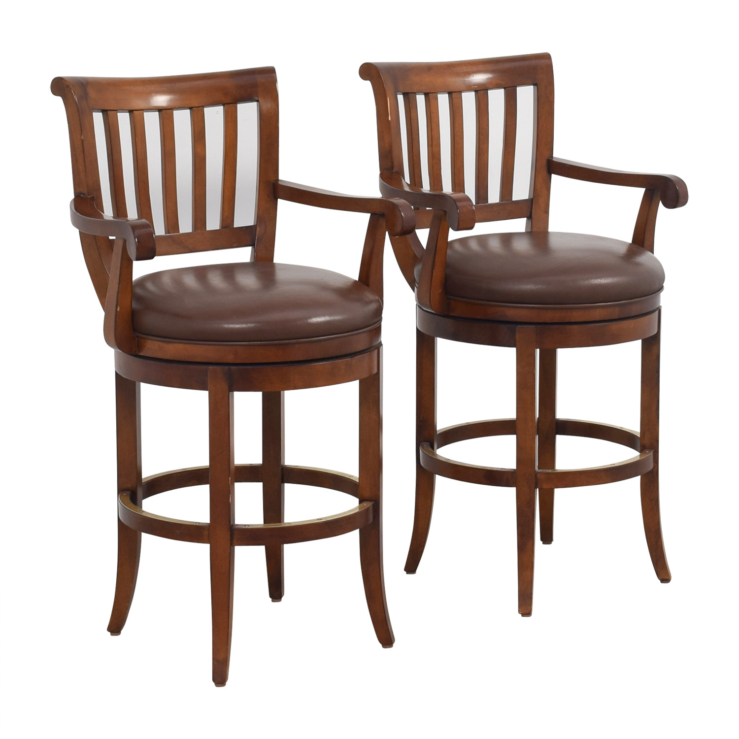 ethan allen leather chairs high on sale 79 off brown stools