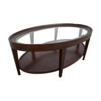 90% OFF - Carson Carson Oval Glass and Wood Coffee Table ...