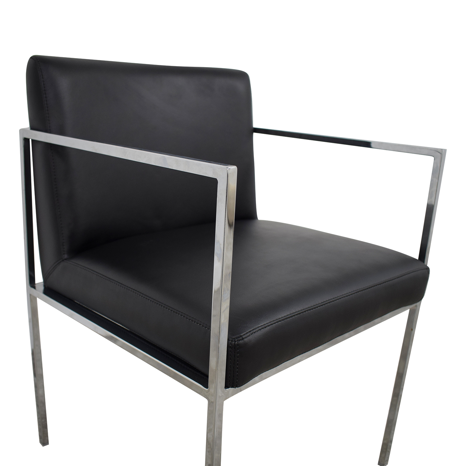 83 OFF  Black Leather Accent Chair  Chairs