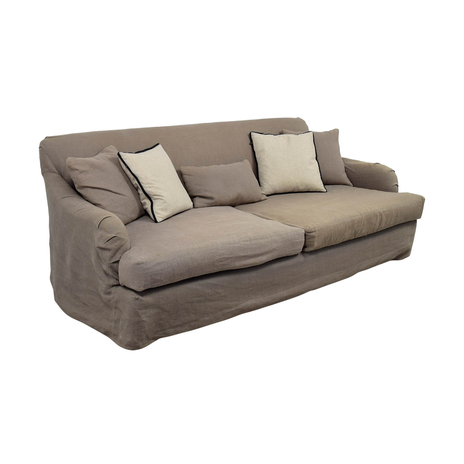 feather filled sofas second hand rattan garden sofa set covers 90 off cisco brothers grey linen down