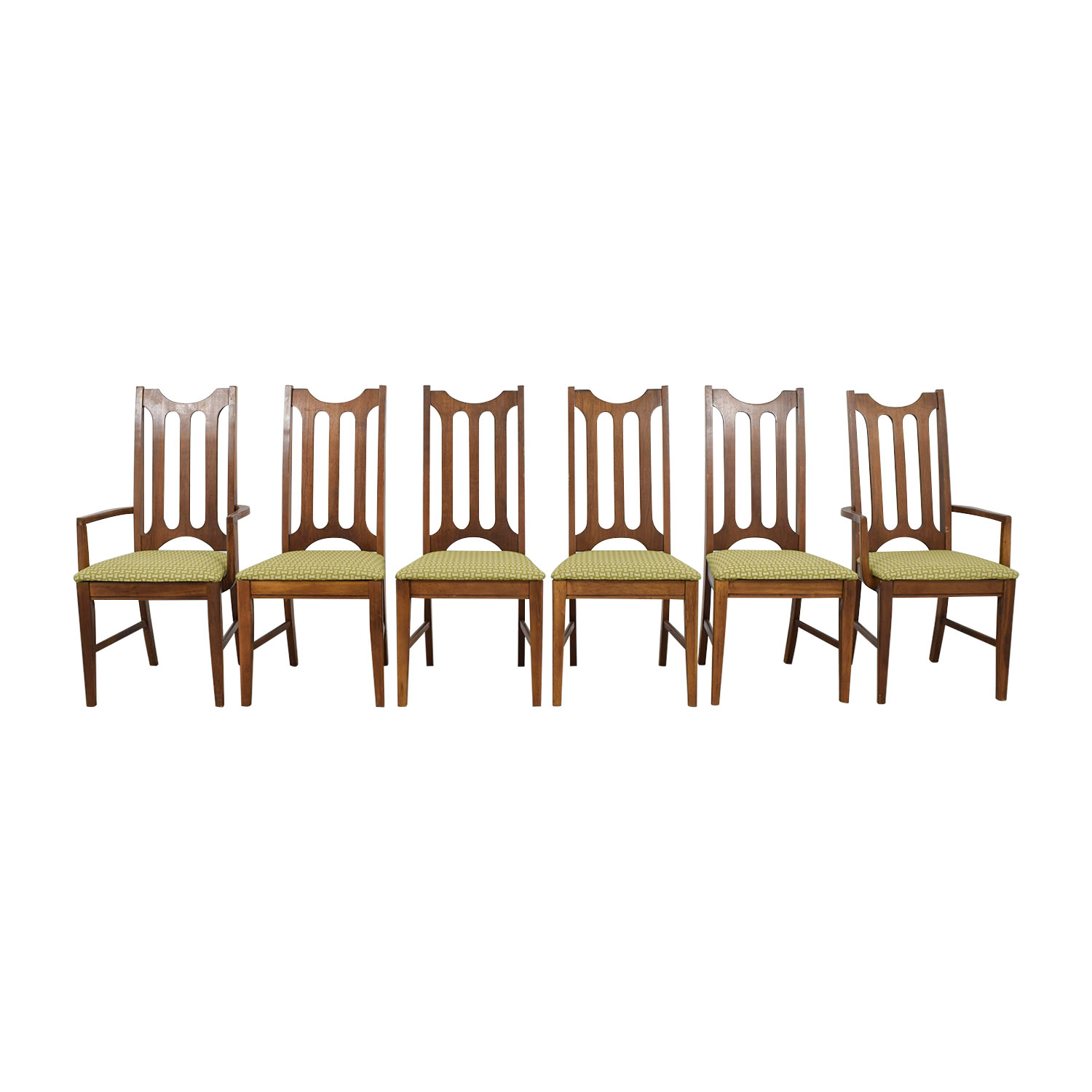 green upholstered dining chairs revolving chair tender 90 off bassett furniture mid century used