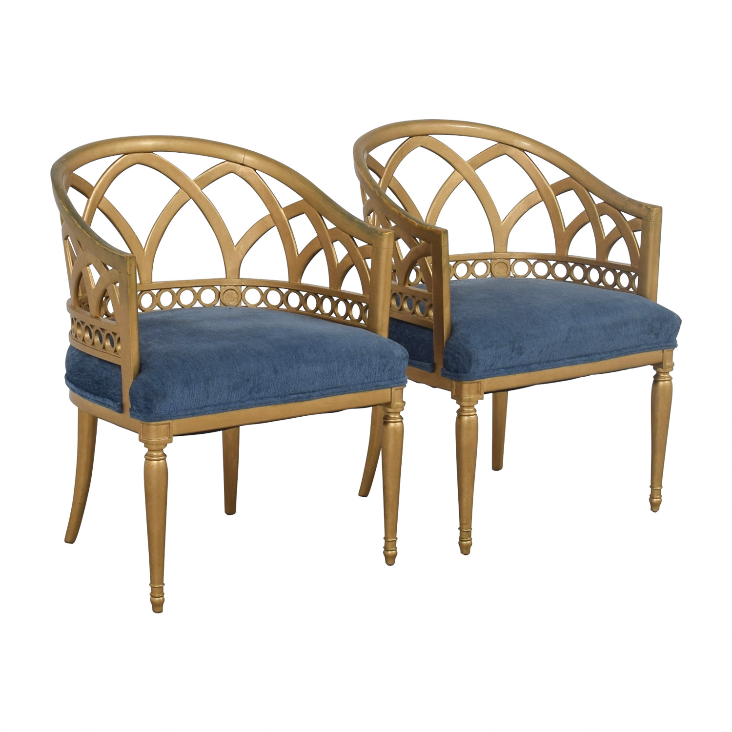 Gold Accent Chairs 64 Off Regency Blue And Gold Accent Chairs Chairs