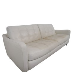 White Tufted Leather Sofa Oversized Pillow Covers 90 Off Natuzzi Sofas