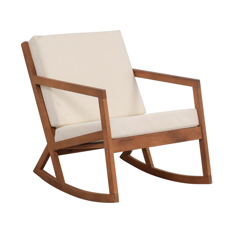 55 OFF  Safavieh Safavieh White Upholstered Wood Rocking