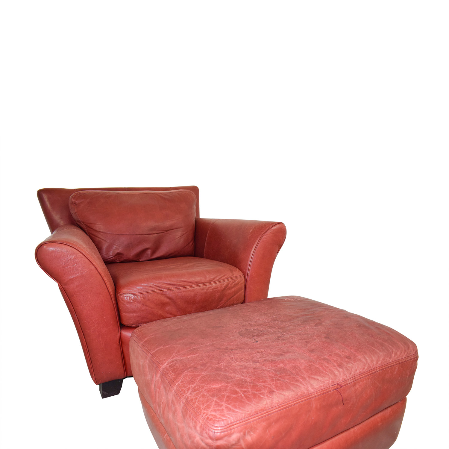 red leather chair and ottoman intex inflatable pull out twin bed 73 off palliser
