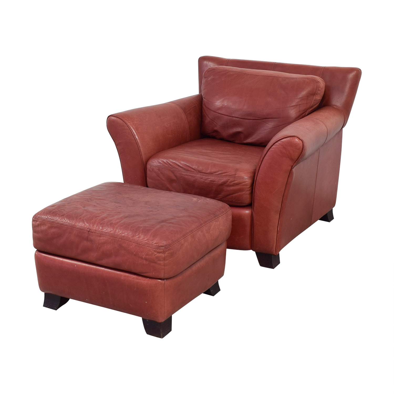 red leather chair and ottoman walmart folding 73 off palliser