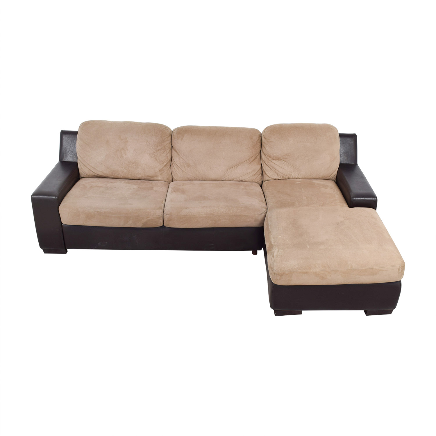 brown and beige sofa macys tufted 90 off pottery barn chaise
