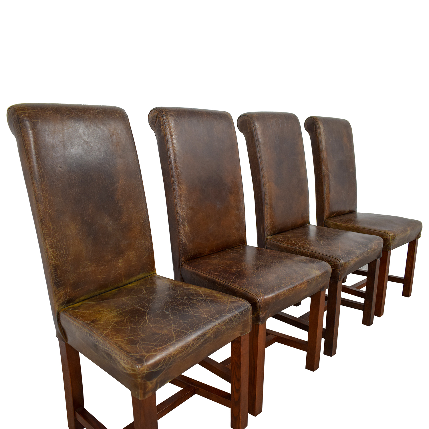 distressed dining chairs ethan allen mickey mouse club chair and a half 80 off faulkner brown leather