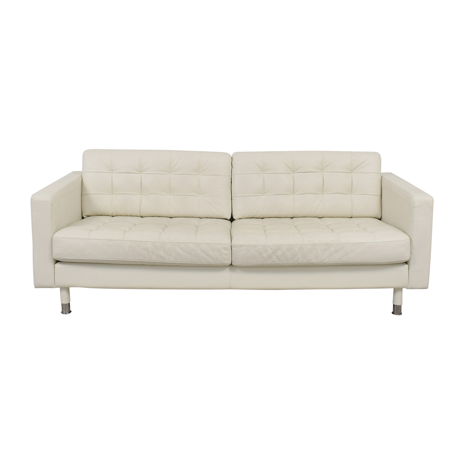 white tufted leather sofa pallet ideas ikea faux couches chairs