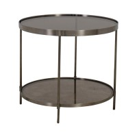 56% OFF - Round Glass and Chrome End Table / Tables