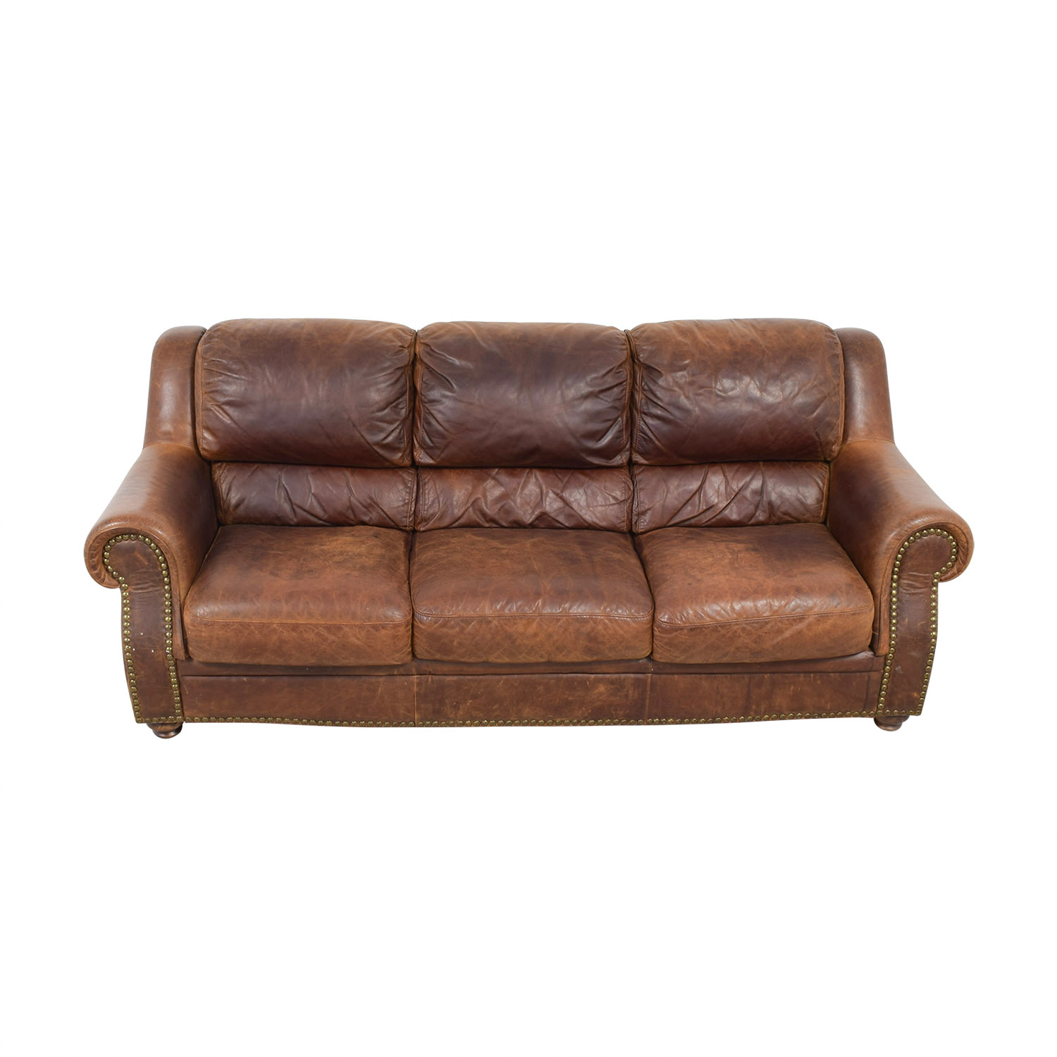 black leather sofa with nailheads brown sofas on gumtree cushion lee industries two vivaterra