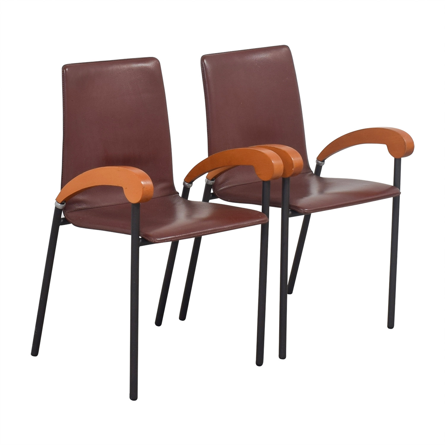 Cherry Wood Dining Chairs 90 Off Italian Brown Leather And Cherry Wood Dining