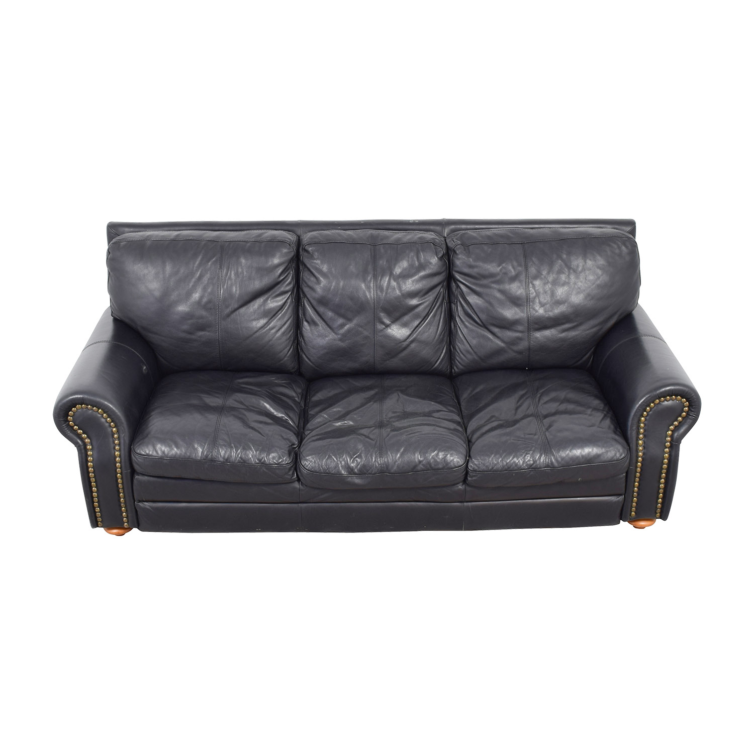 black leather sofa with nailheads charcoal brown carpet sofas used for sale