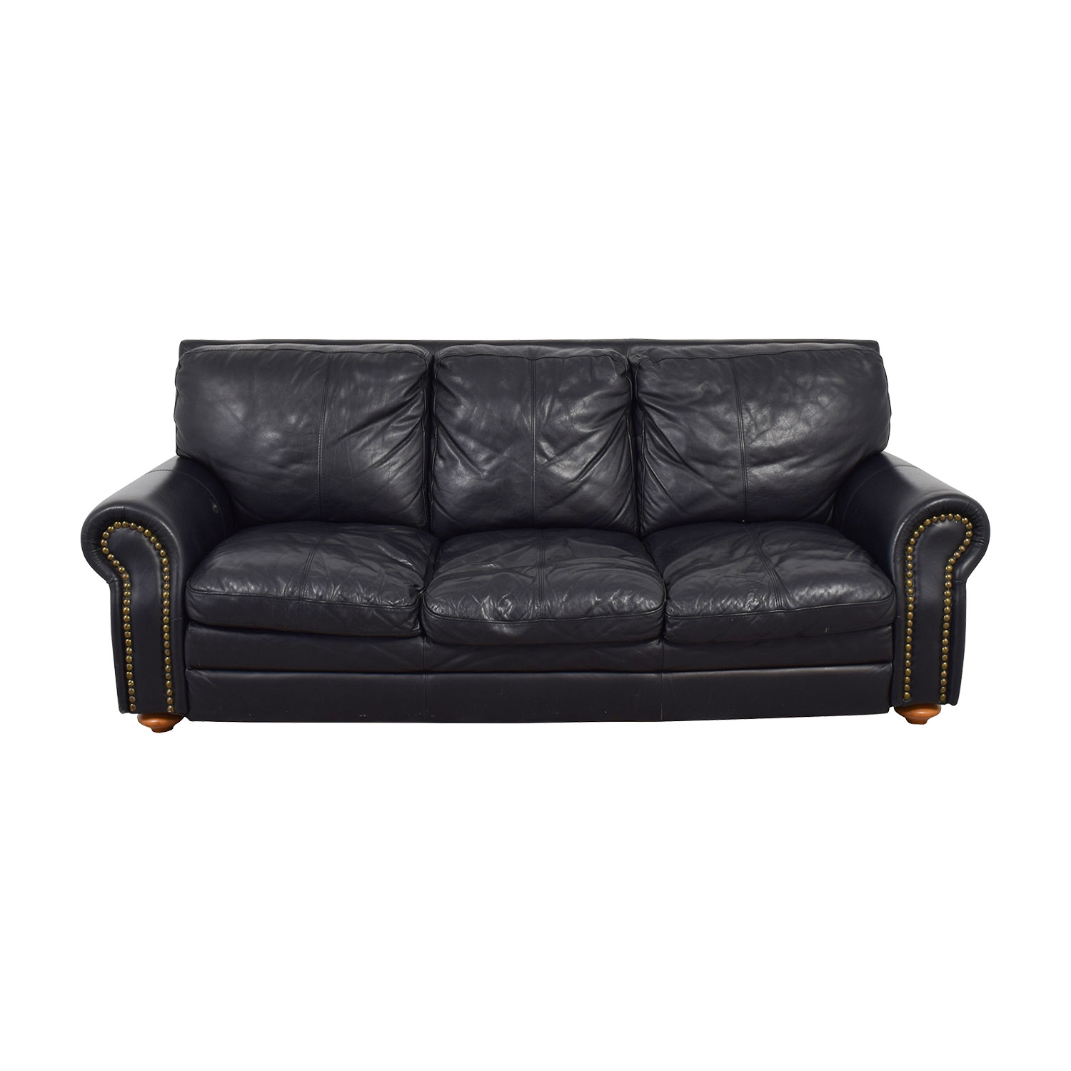 black leather sofa with nailheads outdoor furniture table sofas used for sale