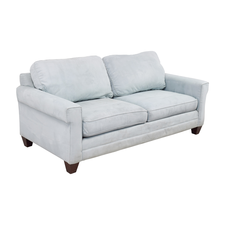 bassett sofa bed portland sofas 90 off light blue micro fiber two
