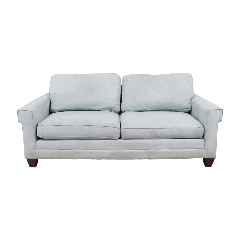 bassett sofa bed pull out mattress topper 90 off light blue micro fiber two