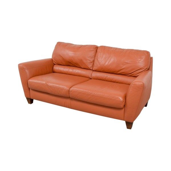76% OFF - Natuzzi Natuzzi Amalfi Burnt Orange Leather Sofa ...