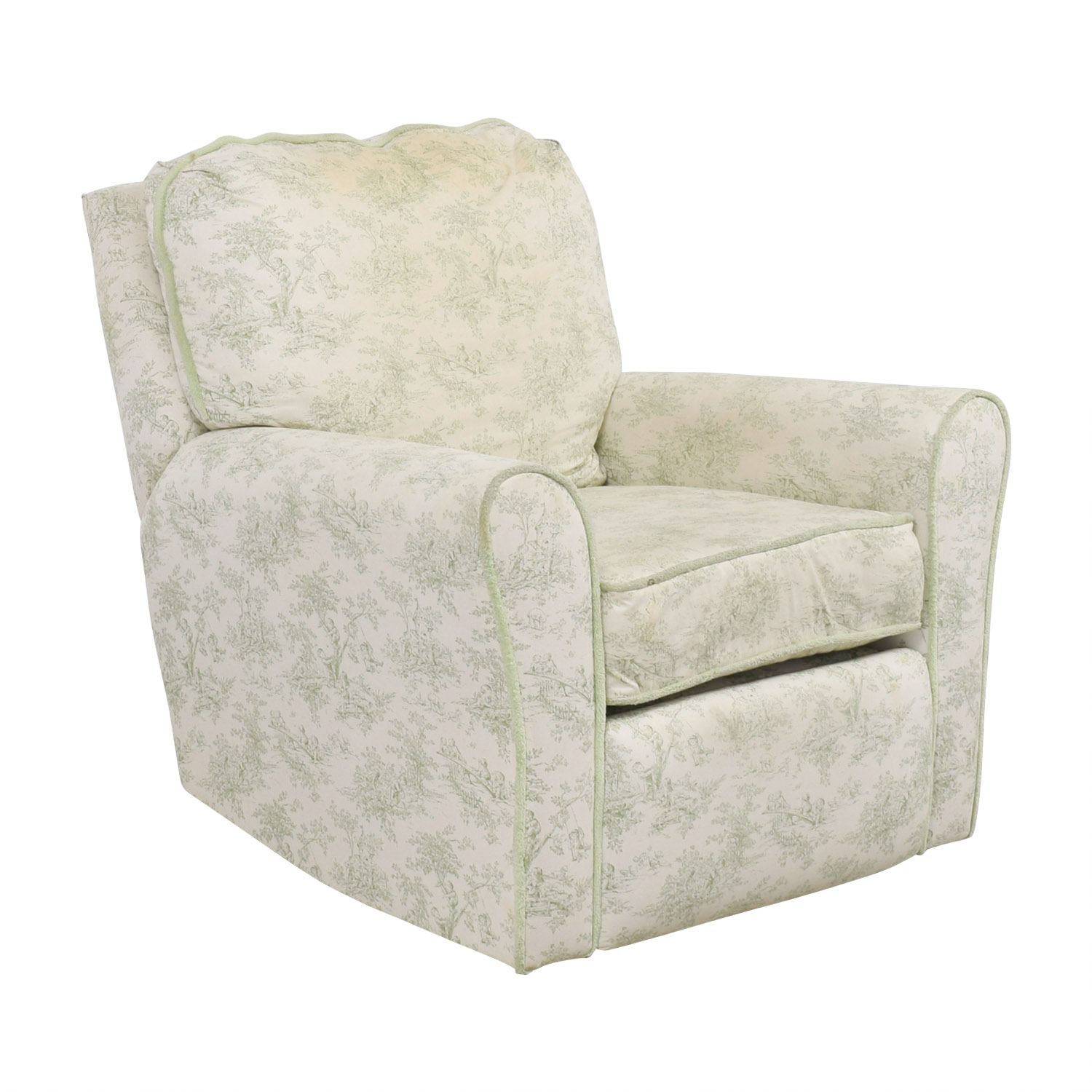 accent chair recliner amish made adirondack chairs from ohio 90 off bellini baby children s playground white and green rocking