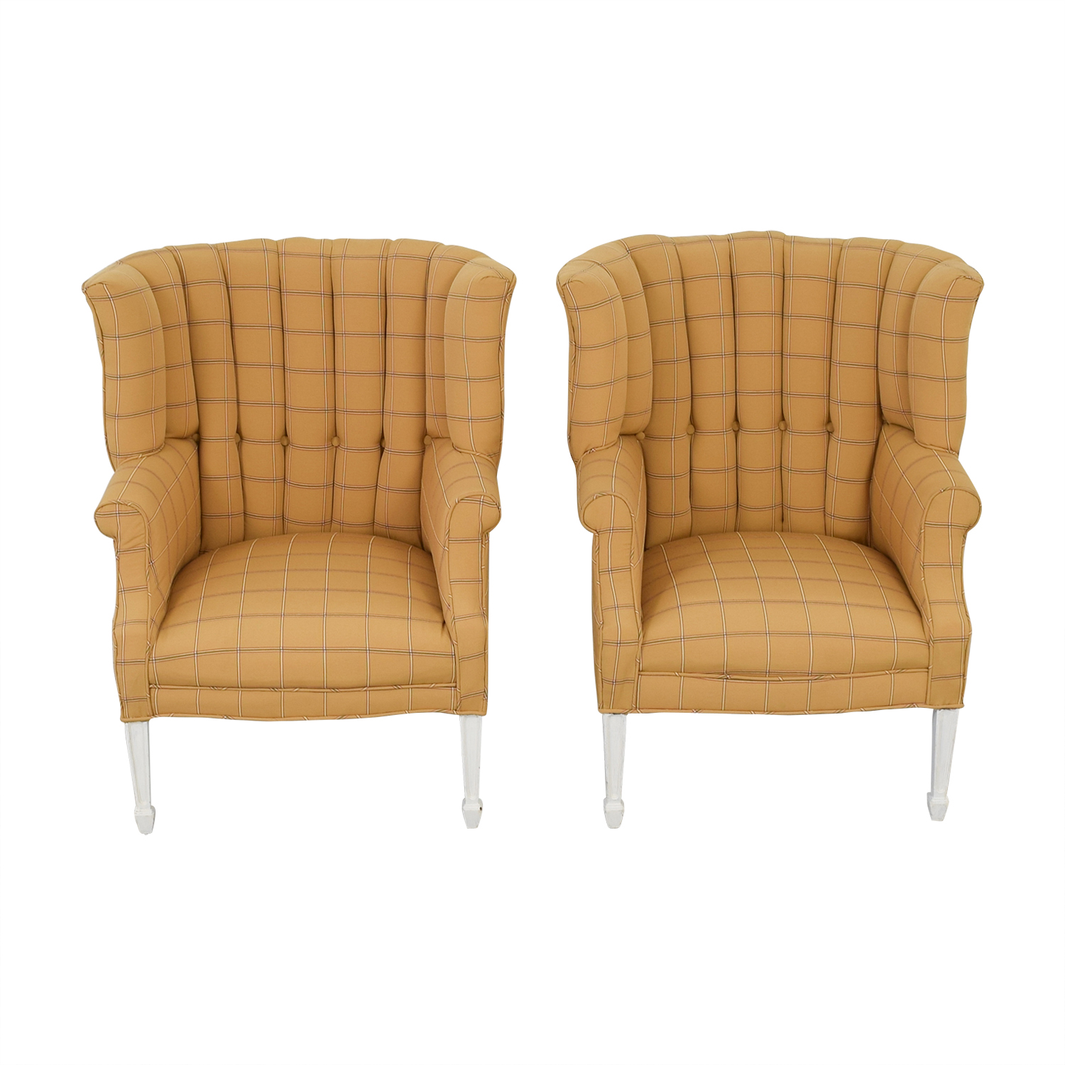 yellow chairs for sale chair covers to buy wholesale uk 75 off vintage and beige plaid wing back accent on