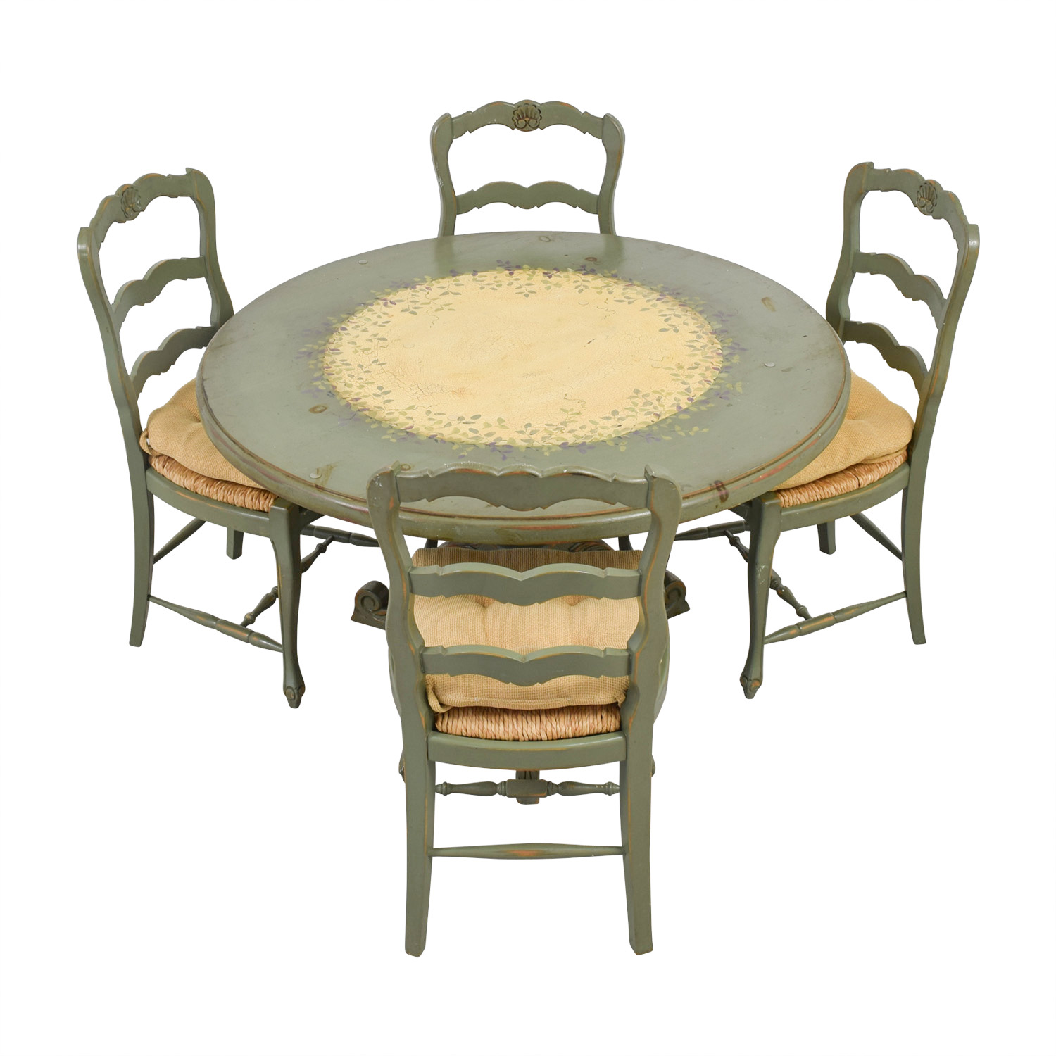 country style kitchen tables sink types materials 90 off hand painted table and chairs buy dining sets