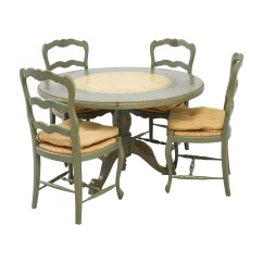 Used Kitchen Table And Chairs Orange Leather Club Chair 90 Off Hand Painted Country Style