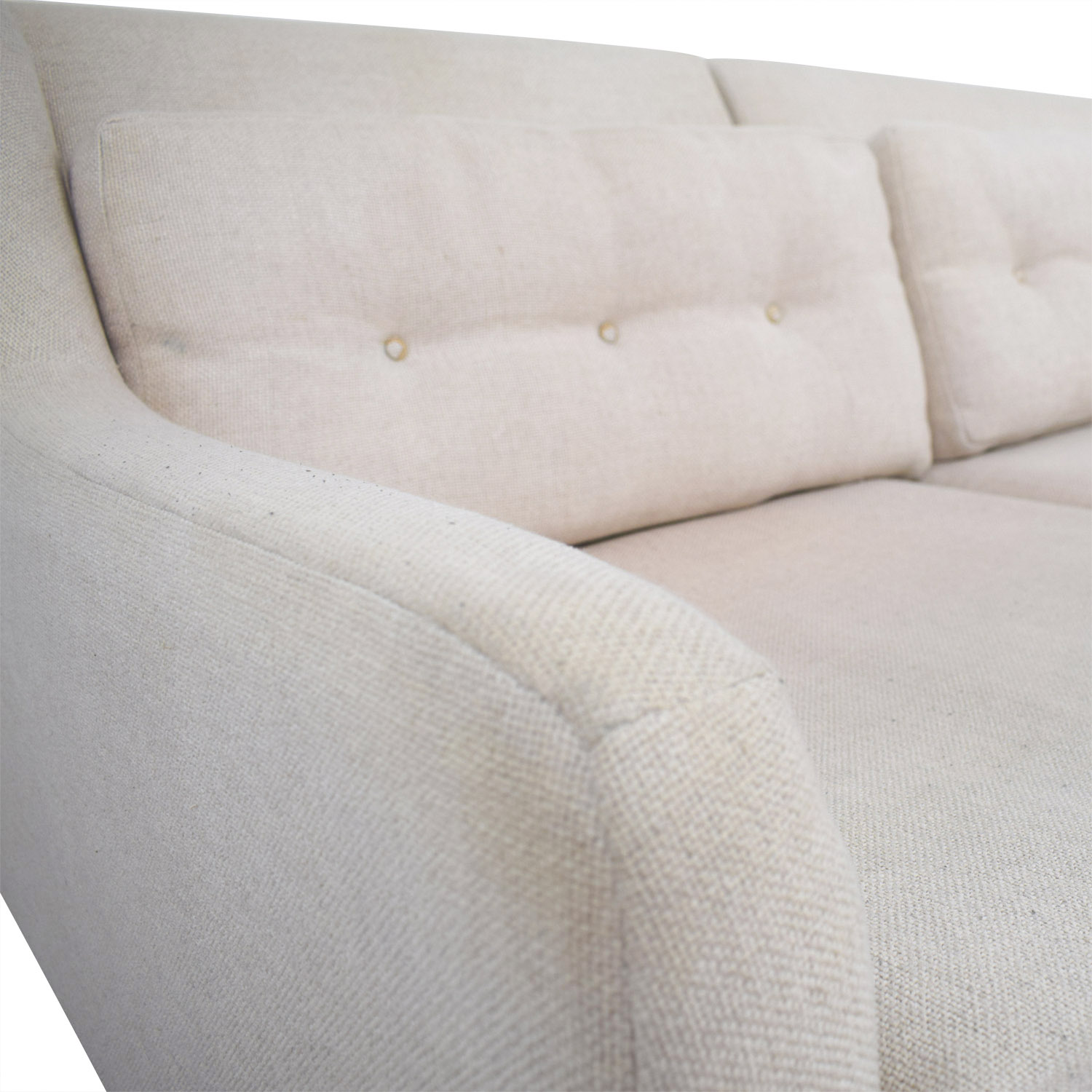 west elm crosby chair special needs chairs for babies 67 off beige mid century 2 piece chaise sectional sofa