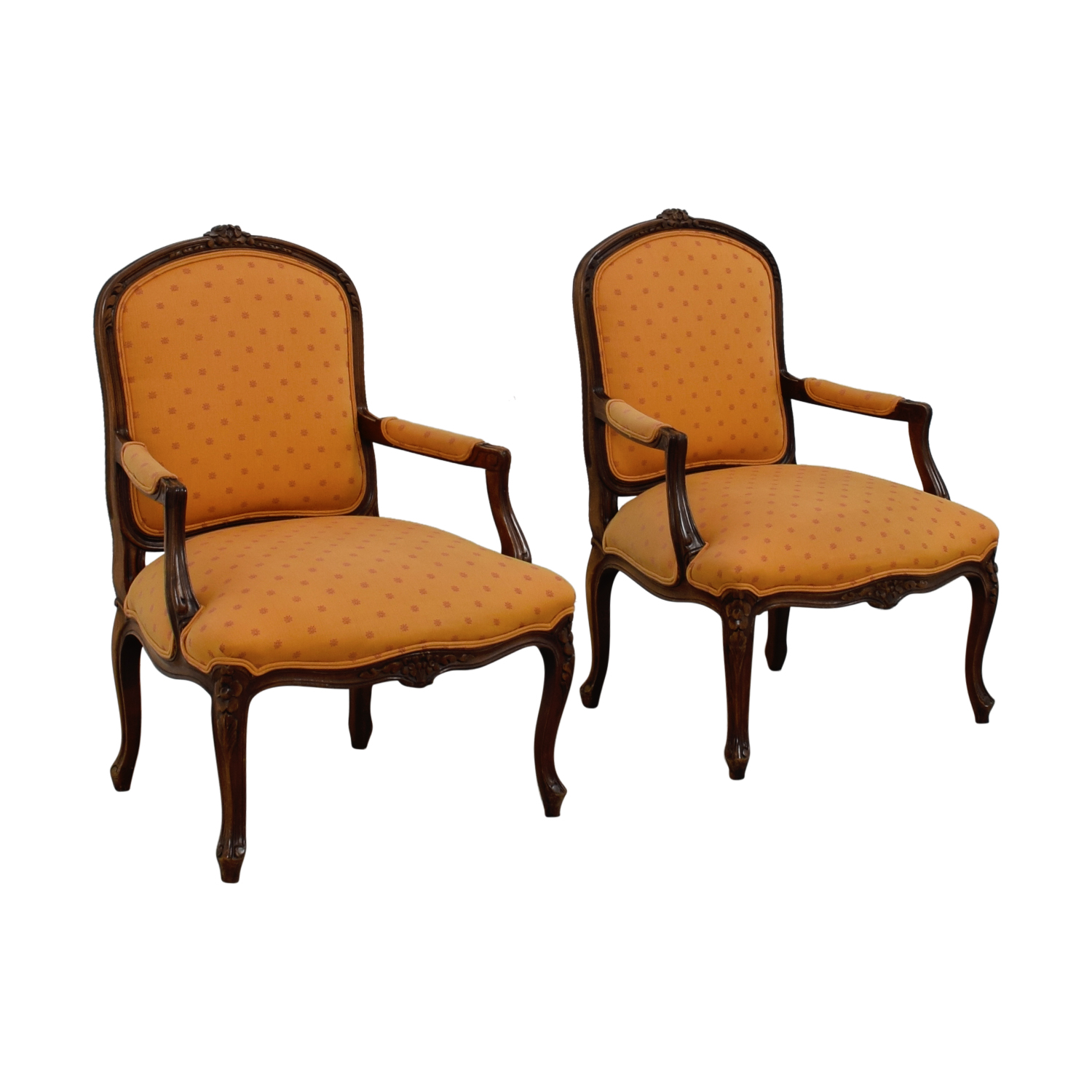 orange upholstered chair beach chairs walmart 75 off mid century arm accent buy online