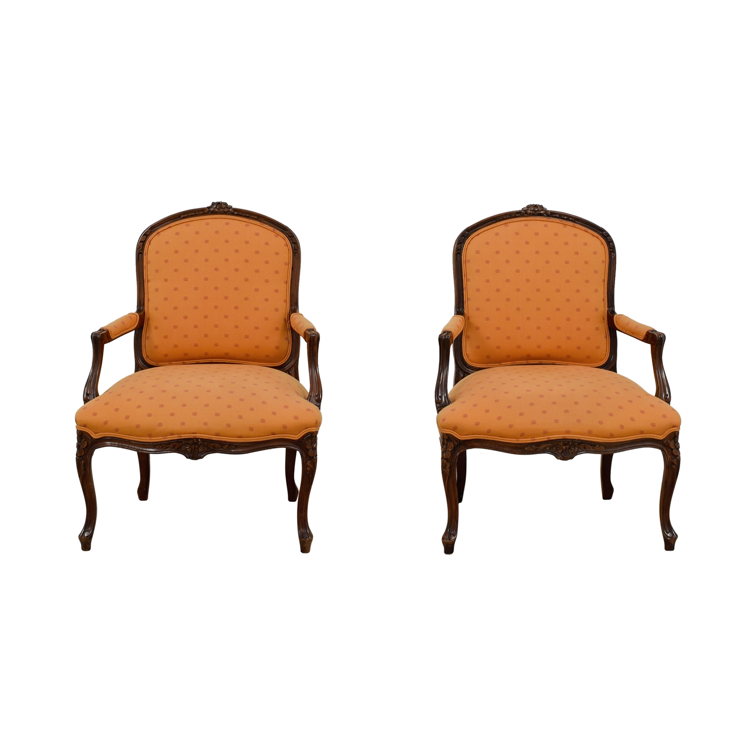 Mid Century Upholstered Chair 79 Off Mid Century Orange Upholstered Arm Accent Chairs