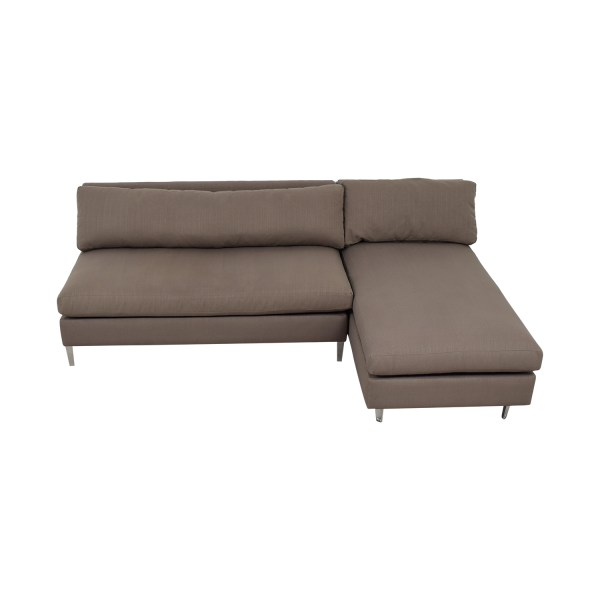 67 - Cb2 Grey Armless Chaise Sectional Sofas