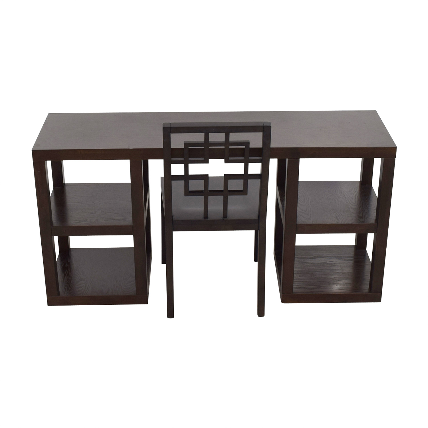 west elm desk chair office star chairs 64 off wood with shelves and