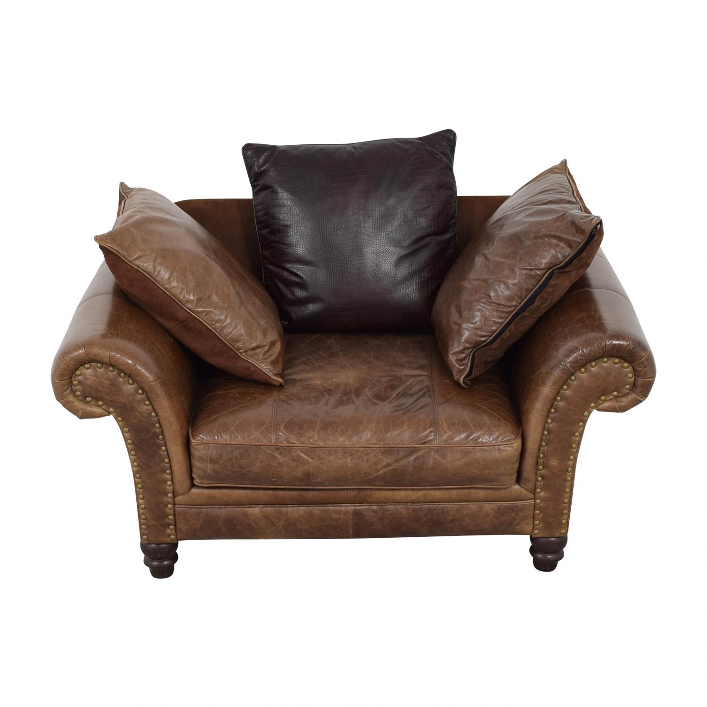 bernhardt brown leather club chair office craigslist 77 off nailhead armchair chairs
