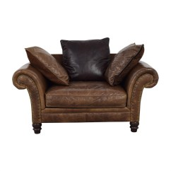 Bernhardt Brown Leather Club Chair Dining Room Chairs With Casters 77 Off Nailhead Armchair Shop