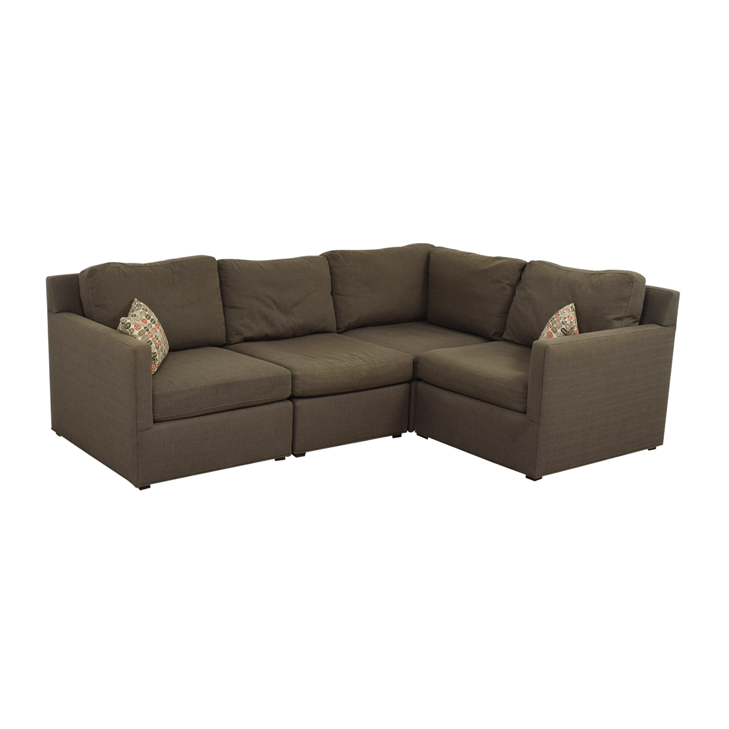 77 OFF  Crate  Barrel Crate  Barrel Grey LShaped Sectional  Sofas