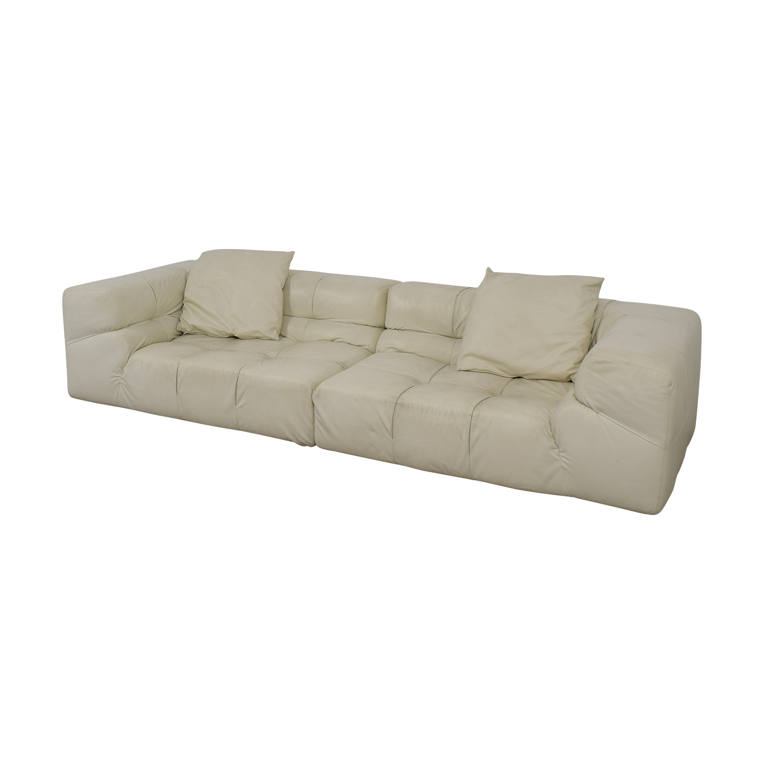 white tufted leather sofa sectional sofas okc 52 off ligne roset couch discount