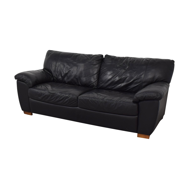 58 OFF  IKEA IKEA Vreta Black Leather TwoCushion Sofa  Sofas