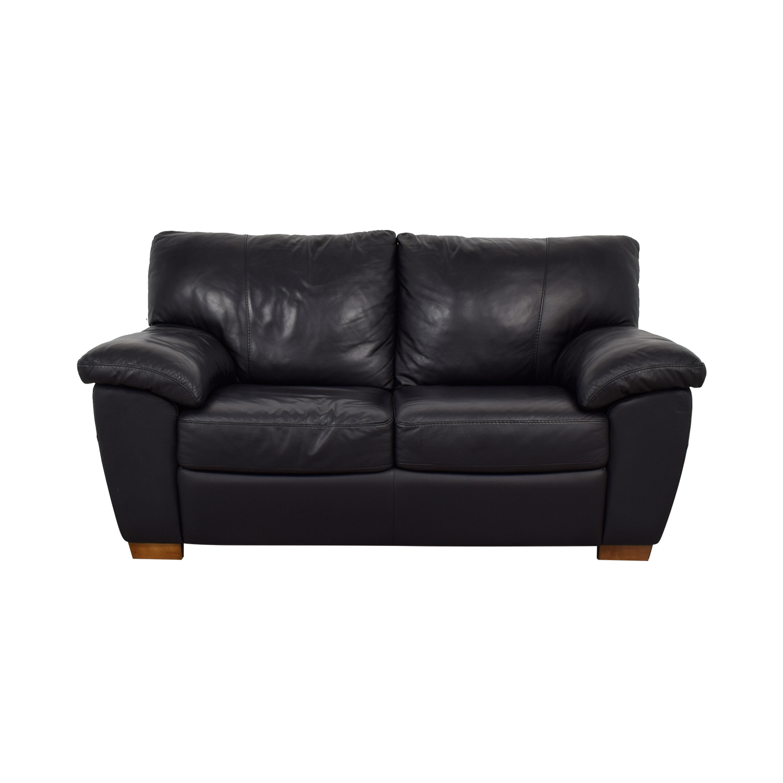 56 OFF  IKEA IKEA Vreta Black Leather Loveseat  Sofas