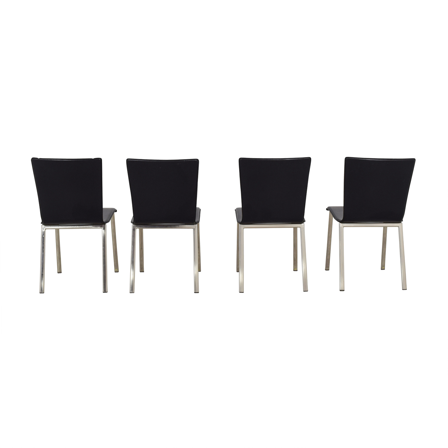 metal dining chairs ikea brown swivel chair 82 off black with chrome buy