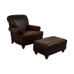 Ethan Allen Leather Chair French Louis 84 Off Brown Ottoman Chairs