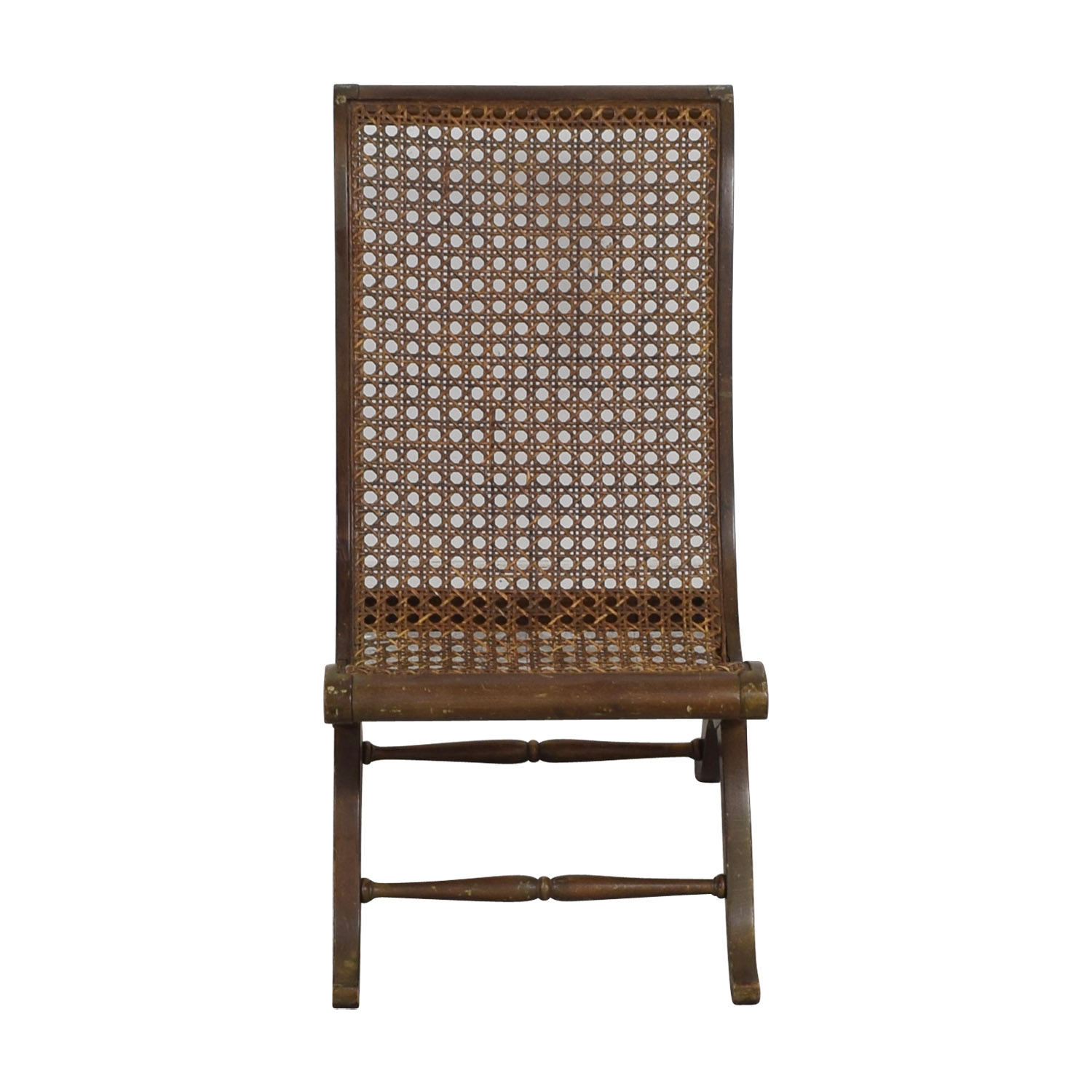 Rattan Accent Chair Antique Sloped Back Cane Rattan Accent Chair