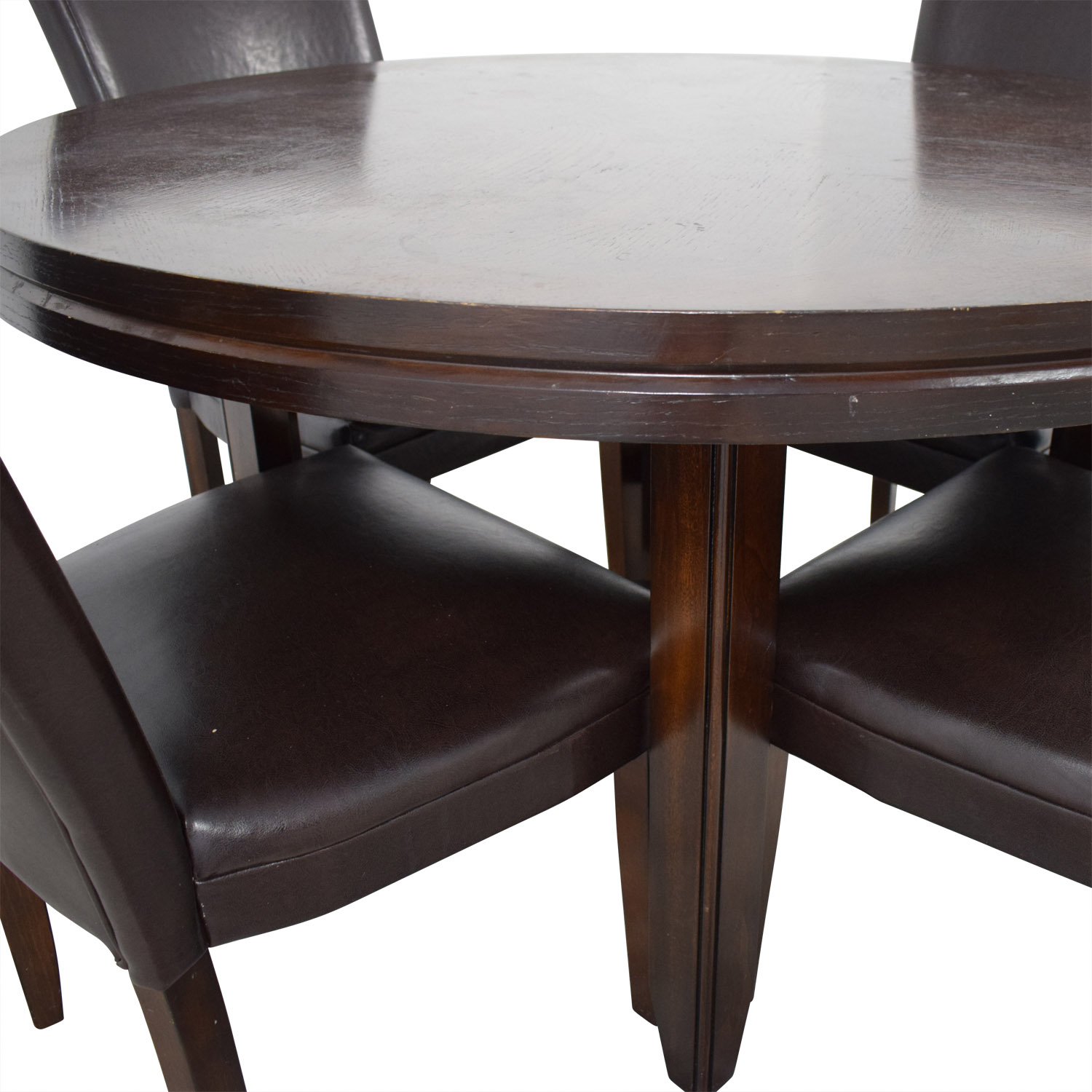 87 OFF  Round Wood Dining Table with Black Leather