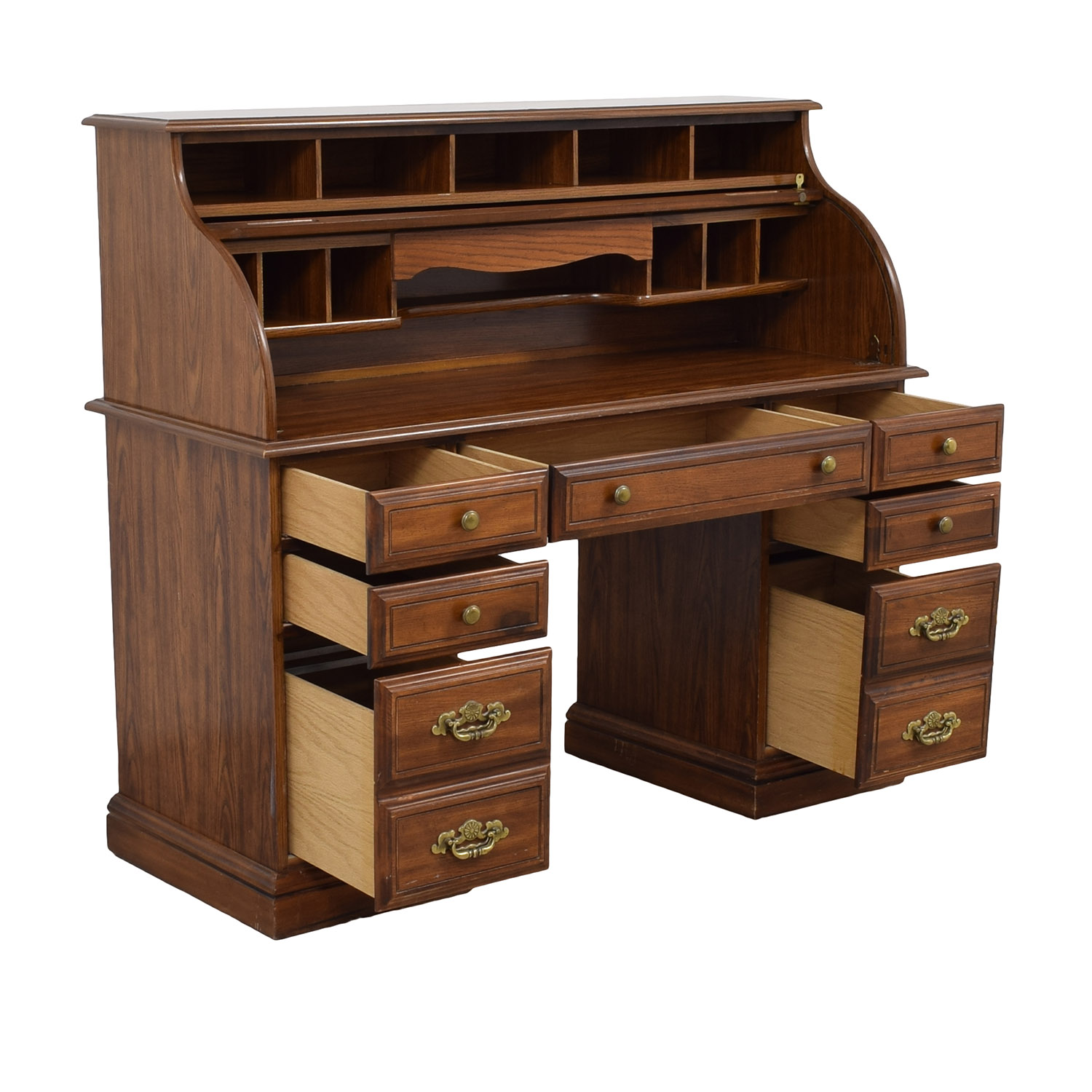 78 OFF  Solid Oak RollTop Desk with Light and Key  Tables
