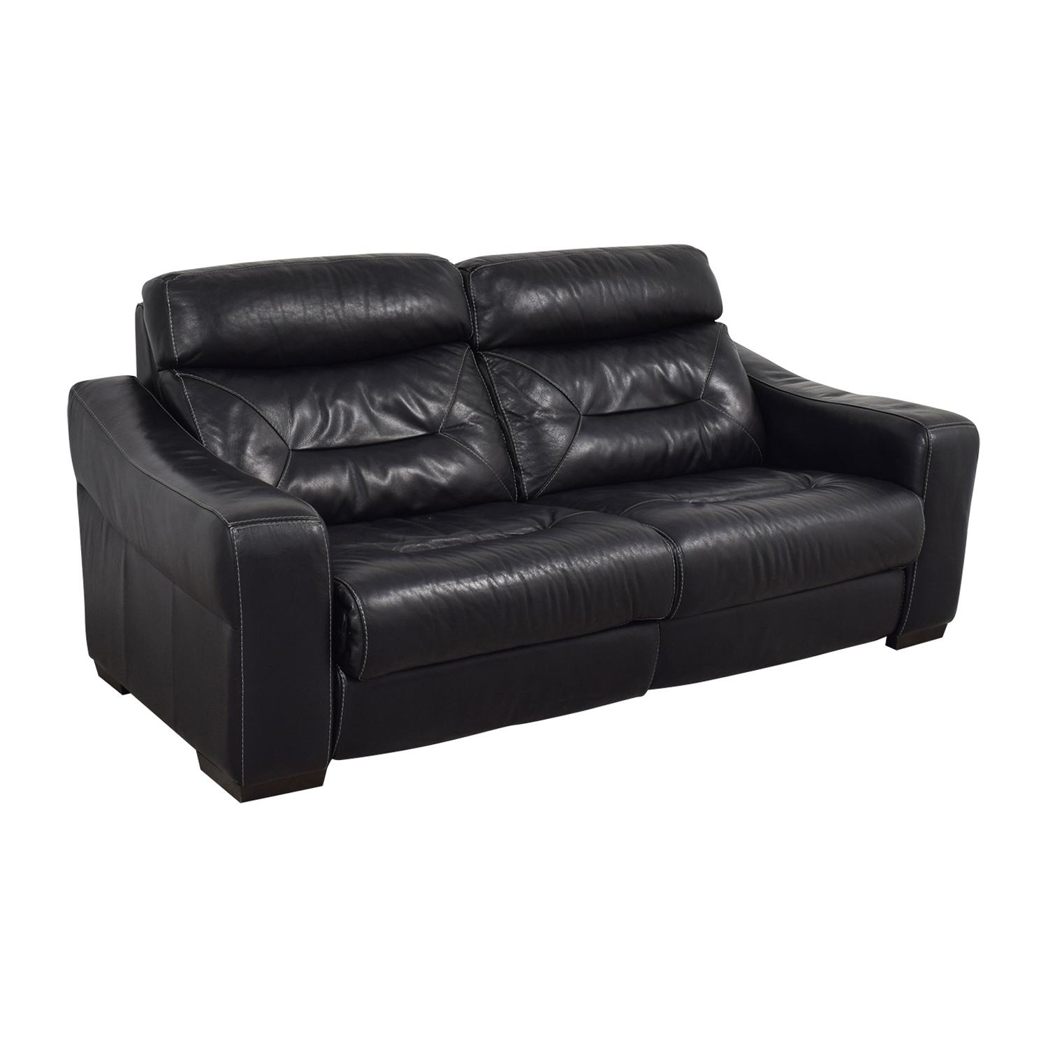 73 OFF  Macys Macys Black Leather Recliner Sofa  Chairs