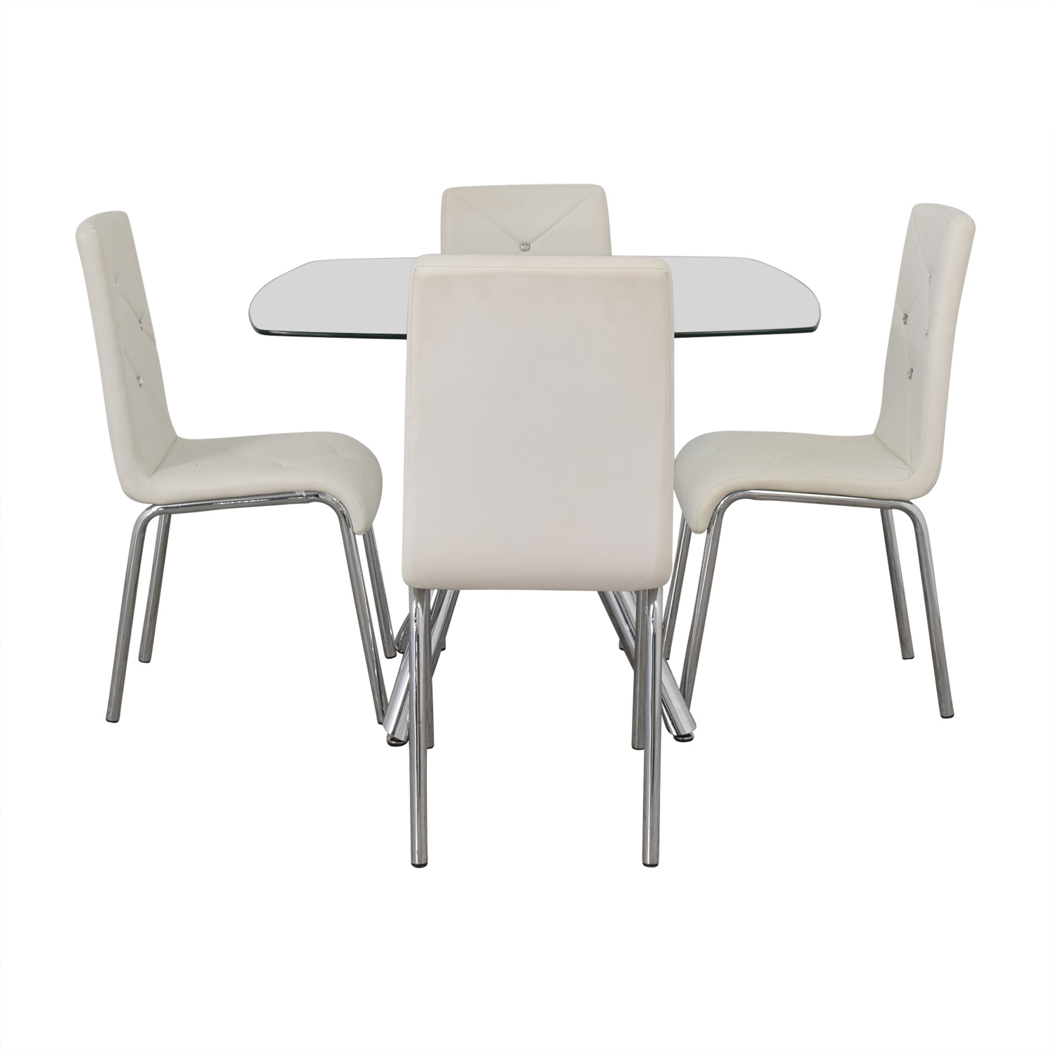 white tufted chair theater chairs rooms to go 60 off glass and chrome dining set with tables discount