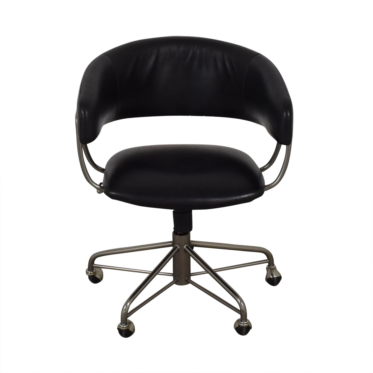 office chair castors light brown leather with ottoman 76 off west elm halifax black on buy chairs