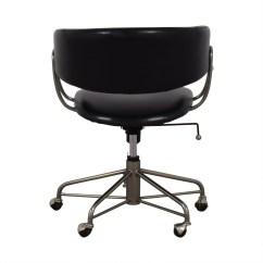 Office Chair Castors Keller Barber Chairs 76 Off West Elm Halifax Black On Shop