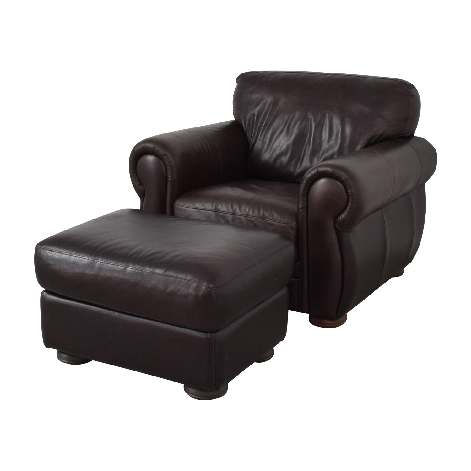 brown accent chair with ottoman dining room covers for sale 65 off raymour flanigan buy and