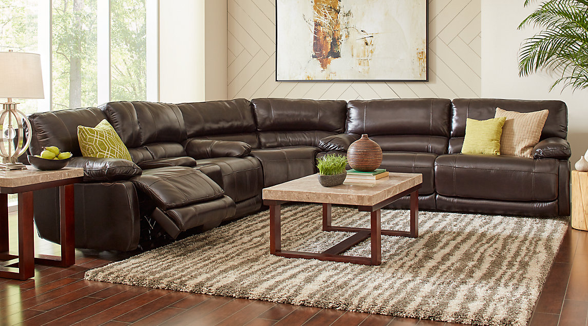 brown leather couch living room paint colors for with dark wood trim beige white furniture decorating ideas auburn hills set reclining sectional and marble accent tables