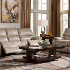 Living Room With Brown Leather Couch Ideas Dark Wood Furniture Beige Gray Decorating Cindy Crawford Set Sofa Black Track Arms And Baseball Style Stitiching Table