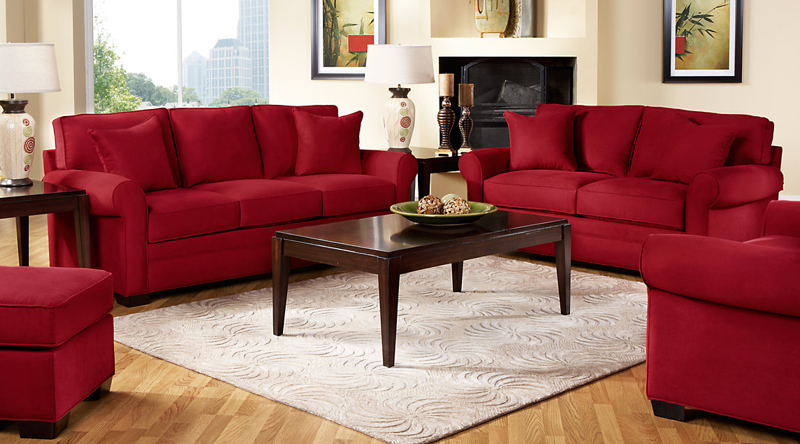 red sofa white living room interior design with corner fireplace beige furniture decorating ideas cindy crawford set featuring and loveseat